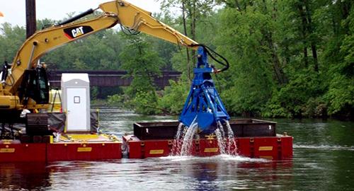 Excavator on water